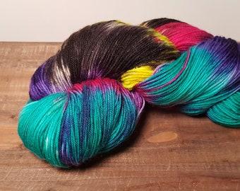 Twinkle Toes- Hand Painted-Hand Dyed- Superwash Merino- Glitz- Nylon- Fingering weight yarn- 463yards- Witching Hour