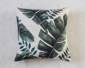 Palm Leaf Pillow Cover, Tropical Palm Leaf Pillow Cover, Green Throw Pillow, Decorative Pillow Cover, Designer Pillow Cover, Cushion Cover