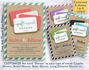 Baby shower invitation, gift card shower invitation, shower invitation