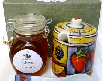 Honey and Honey Jar with Dipping Spoon Set-Honey Tea Sweetener Set