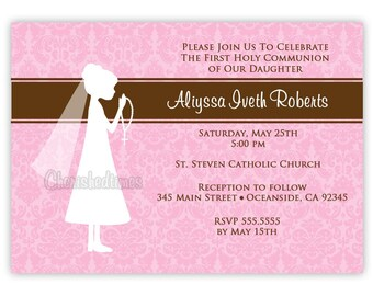 Elegant Silhouette or Cross First Communion Invitation Girl or Boy (You Print)