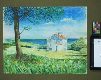 Light House seascape, laundry being done,