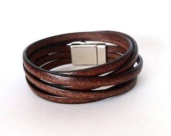 Wrap bracelet, leather bracelet, multi strand cuff, boho bracelet, bracelet  for men, cuf bracelet, boho jewelry, mens bracelet gift