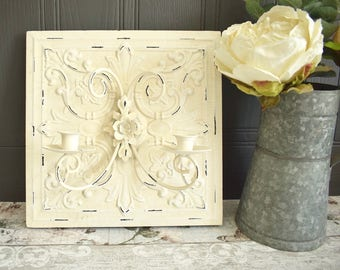 Cream shabby wall tile candle sconce, embossed metal with chippy paint