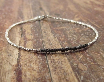 Black Diamond Bracelet Raw Stone Black Diamond Bracelets April Birthstone Bracelet Womens Gift Raw Diamond Rough Diamond Bead Bracelet Stone