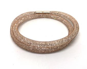 Crystal Wrap bracelet champagne with magnetic clasp 18 cm