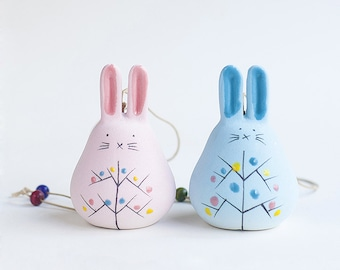 Cute blue Colored Ceramics Bunny Rabbit Wind Chime Bell Figure Figurine Home Decoration Gifts, Easter bunny, kawaii, couple, door hanger