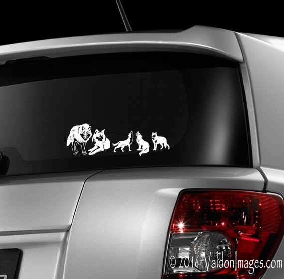 Wolf Pack Car Decal Wolves Laptop Decal Stick Family - Family decal stickers for carscar truck van vehicle window family figures vinyl decal sticker