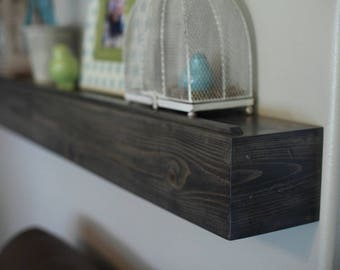 "Fireplace Mantel Wood Wall Shelf Gray Stained Beam Style in lengths of 48"" 60"" 72"" and 84""- Floating French Cleat Hanging"