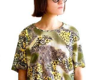 Vintage 90s leopard print top UK 18