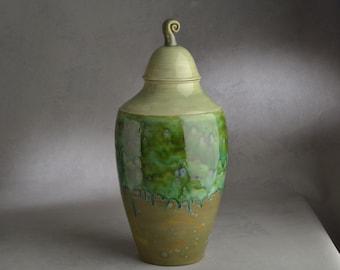 Lidded Jar Ready To Ship Jade Green Lidded Jar by Symmetrical Pottery