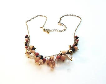 Vintage Avon Gold with Acrylic Pink and Purple Beads Necklace
