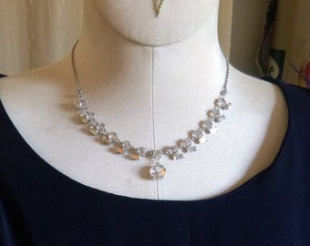 Open back prong set crystal and rhinestone choker on sterling chain
