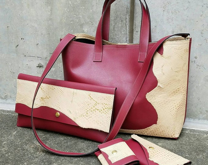 "Red Leather Tote Bag ""only"""