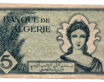 allied Occupation of Algeria 1942 Pick 91 5 francs