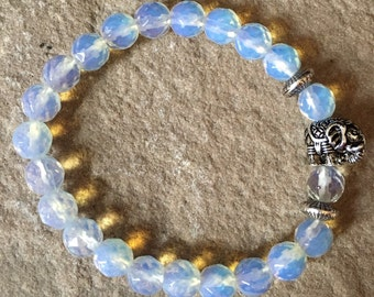 Moonstone & elephant bracelet