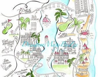Miami Map/ Invitation/ Save the Date