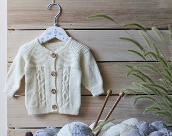 Knit Baby Sweater White / Knitted sweater for baby girl