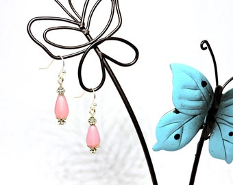 Silver earrings with pink frosted glass