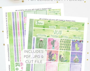 June 2018 Monthly Kit for Classic Happy Planner   Printable Planner Stickers   Includes Silhouette Cut File   Instant Download   PDF & JPG