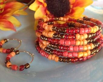 Seedbead bracelet, Fall jewelry, memorywire bracelet, hoop earrings,seedbead jewelry, trendy jewelry, handmade,handcrafted, trending jewelry