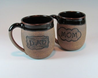 Ceramic Mug Set, Anniversary Set, Handmade Mug Set, Wheel Thrown Mugs, Stoneware Mugs, Pottery Mugs, New Baby Gift, Ready to ship, MSMD1-3