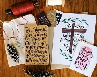 Personalized Lent gift set, prayer journal, scripture print, Easter gift, Christian gift, customizable devotional, gift wrapped, Lent gift