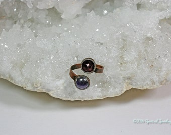 Garnet and Amethyst Adjustable Electroform Ring | Double Stone Size 9.5 Ring | SPRING CLEAN SALE | Plus Size Boho Wrap Ring |