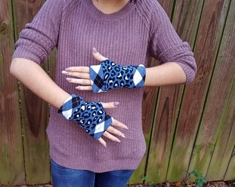 Leopard print fingerless gloves, blue, black and white hand warmers gift ideas/ #120