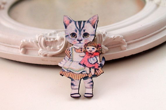 Cat Girl wooden brooch kawaii sweet lolita girl doll tabby