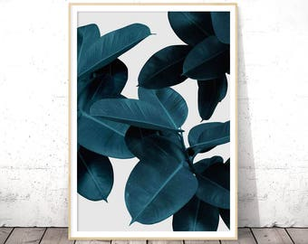 Blue Leaves Wall Art, Indigo Poster, Navy Print, Bohemian Style, Tropical Home Decor, Digital Download, Modern Botanical Print, Printables