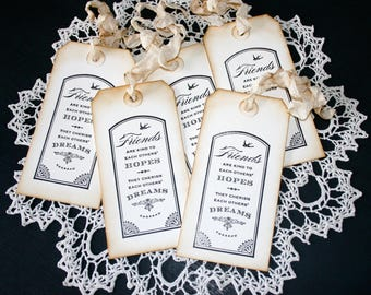friends Gift Tags // Large Shabby Chic Tags // Cottage Style Gift Tags // Set of 5 Gift Tags