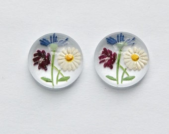 Daisy Wildflower Red Version Intaglio Glass Cabochon 13mm (2) int010C