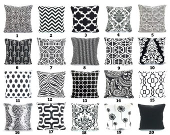 Black Throw Pillow Covers, Decorative Pillows, Cushions, Black White Euro Sham Chevron Handmade Pillow Covers, Couch, One or More All Sizes
