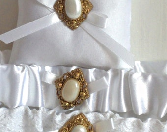"Gold and White Ring Bearer Pillow, small simple bridal pillow, gold button white ribbon -- approx. 3"" square"