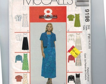 1990s Vintage Misses Sewing Pattern McCalls 9198 MIsses A Line Sleeveless Sundress Dress and Cropped Jacket Shirt Size 18 20 22 UNCUT  99