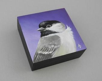 Chickadee painting - songbird painting - chickadee art original - violet  purple- tiny songbird art - realistic chickadee - birdwatcher gift