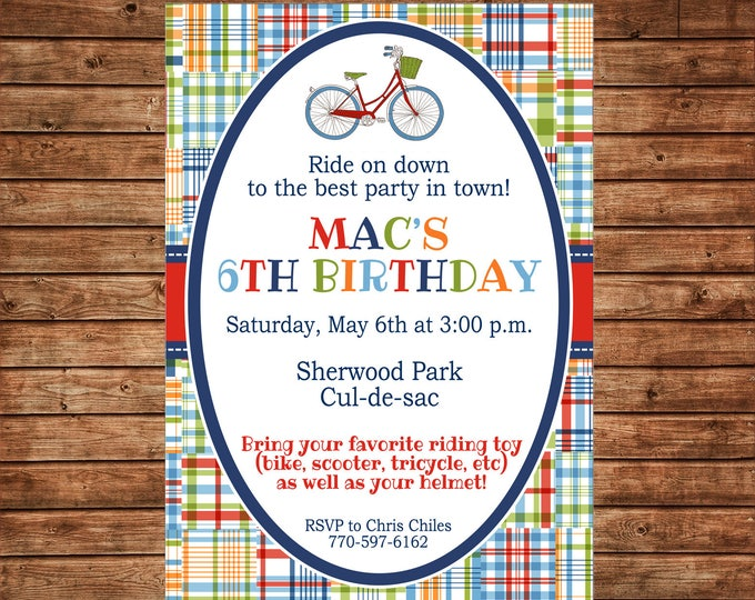 Boy Invitation Madras Plaid Vintage Bicycle Birthday Party - Can personalize colors /wording - Printable File or Printed Cards