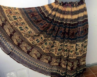 Vintage 1970 Indian cotton gauze Hippie skirt #070A