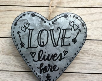 Heart Shaped Galvanized Rustic Farm Decor Metal Sign Hand Lettered
