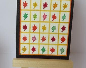 """Pretty Leaves Quilt drawing painting ACEO 2.5"""" x 3.5"""" watercolor oak leaf design"""