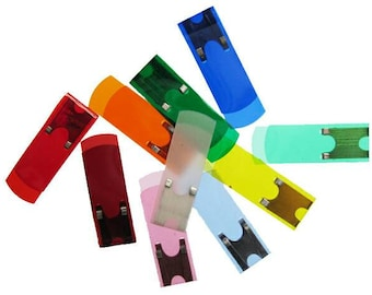 50 x Assorted Color Vintage Celluloid Index Tabs