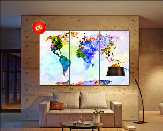 World Map Canvas Print  print on canvas World Map Canvas print art artwork large world map Print home office decoration