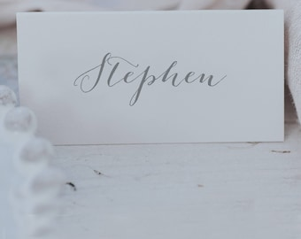 Grey and White Calligraphy Style Place Cards - Personalised Wedding Place Name Cards - Printed