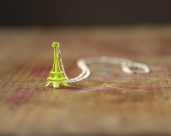 Yellow Eiffel Tower necklace, Paris necklace, neon yellow jewellery, neon jewelry, festival necklace, etsy uk, gifts for teens, France UK