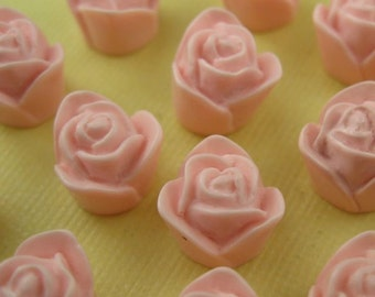10 Pink Lucite Cabochon Roses