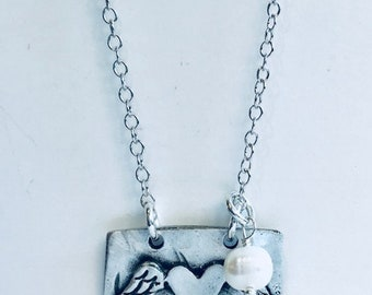 A piece of my heart is in heaven pewter necklace