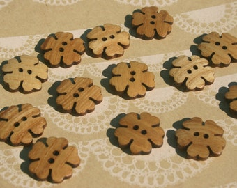 """Wood Flower Buttons - Wooden Flower Petals Button - Dark Edge - 13/16"""" Wide - 12 Buttons"""