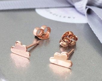 Cloud Earrings, Rose Gold Cloud Earrings, Tiny Cloud Studs, Gold Studs, Sterling Silver Cloud Jewellery, Rain Cloud Earrings, Miniature Stud