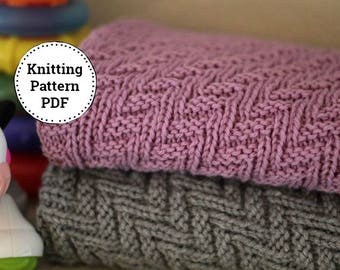 Knitting Pattern Baby Blanket Reversible  Blanket  Beginner Knitting Pattern Stroller Blanket Pattern Instant Download PDF Crib Blanket